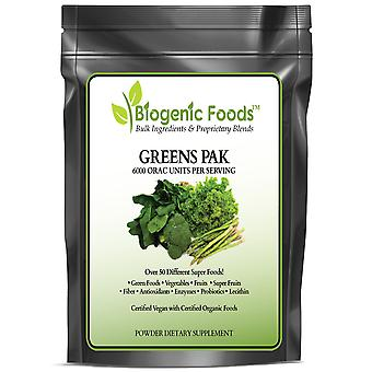 Greens Pak  - Super Food & Vegetable Blend with Antioxidants & Phytonutrients ING: Organic Powder