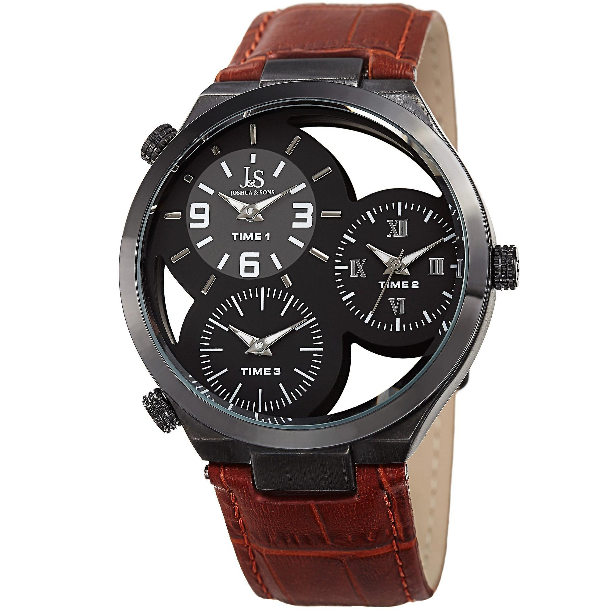 Joshua & Sons Men's JX119TN Two Time Zones Small Seconds Leather Strap Watch
