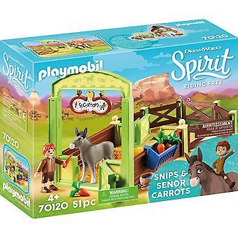 Playmobil DreamWorks Spirit 70120 Snips, Karotten Pferdestall