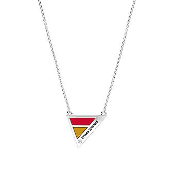 Ottawa Senators Engraved Sterling Silver Diamond Geometric Necklace In Red & Gold