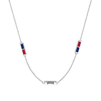 Chicago Cubs Sterling Silver Engraved Triple Station Necklace In Blue & Red