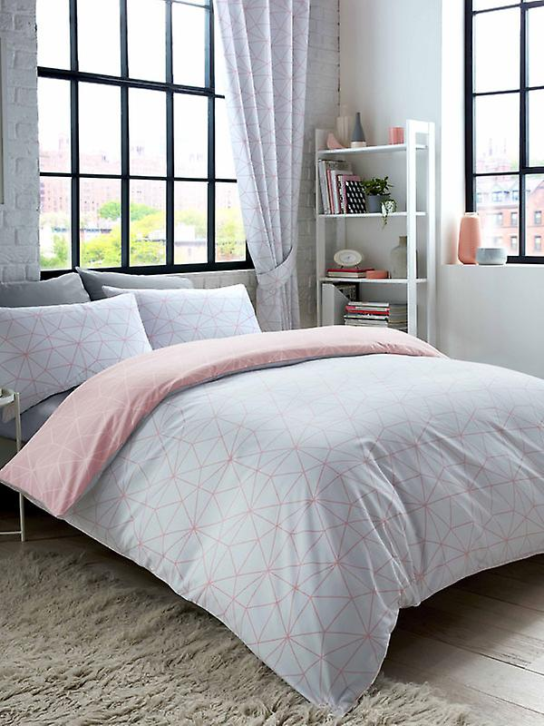 Metro Prism Triangle Duvet Cover Set - Blush / Grey
