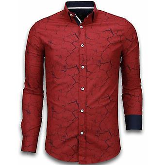 E Shirts - Slim Fit - Marble Pattern - Bordeaux