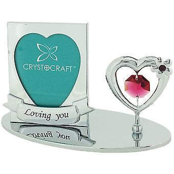 "Crystocraft Freestanding Chrome Plated""Loving You"" Photo Frame Ornament Made With Swarovski Crystals"