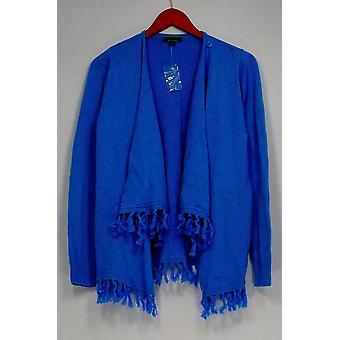 C. Wonder Sweater Drape Front Fringe Hem Cardigan Bleu A287631