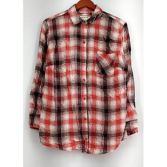 Ava & Viv Top X (14W) Button Front 3/4 Sleeve Plaid Shirt Red/ Multi-Color