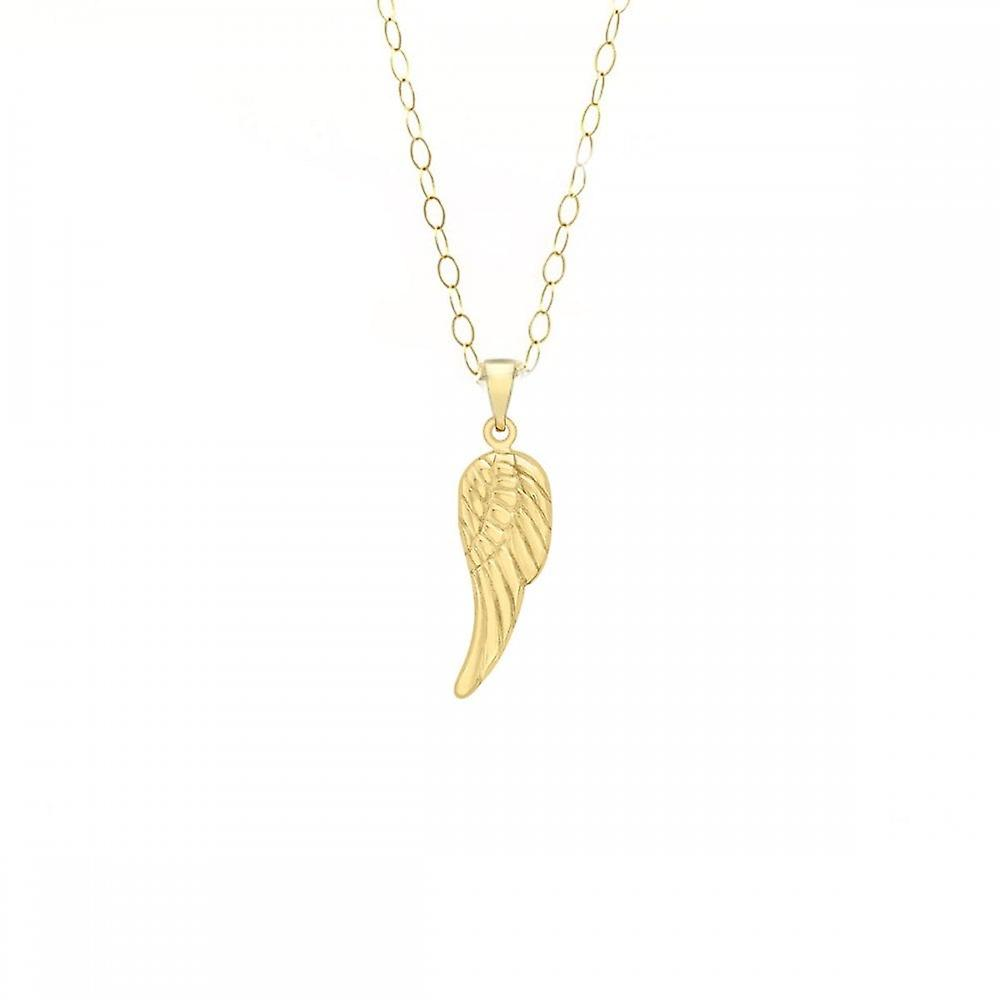 Eternity 9ct Gold Angel Wing Pendant And 16'' Chain