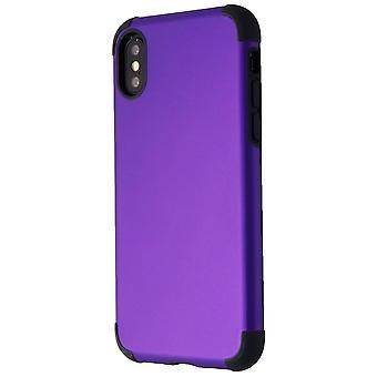 Caja delgada de goma Verizon para iPhone XS/X - Púrpura/Negro