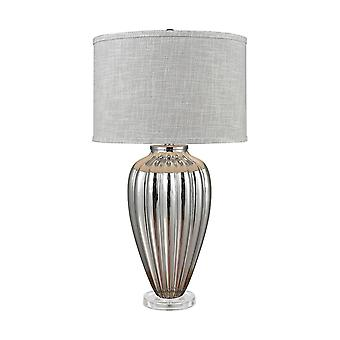 Silver glass, clear acrylic clothilde table lamp in silver mercury glass and acrylic with grey linen hardback shade stein world