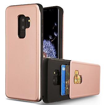 Rose goud/zwart portemonnee Hybrid Protector cover (met dubbele kaarthouder) voor Galaxy S9 plus