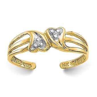 14k oro amarillo pulido doble amor corazón .02ct diamante toe anillo joyería regalos para las mujeres - .02 dwt