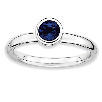 925 Sterling Silver Bezel Polido Rhodium plated Stackable Expressions Low 5mm Round Cr. Sapphire Ring Jewely Gifts fo