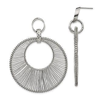 rustfritt stål polert wire sirkel post lang dråpe dingle øredobber smykker gaver til kvinner