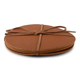 Coasters Brown Leather 4-pack