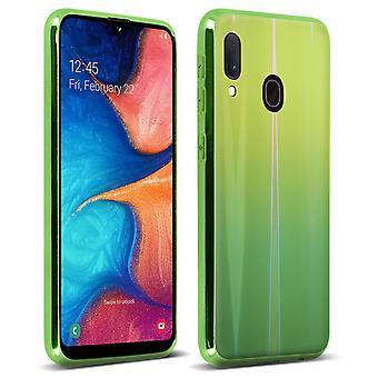Samsung Galaxy A20e Cover Case Bright Holographic Design-Aurora Collection Green