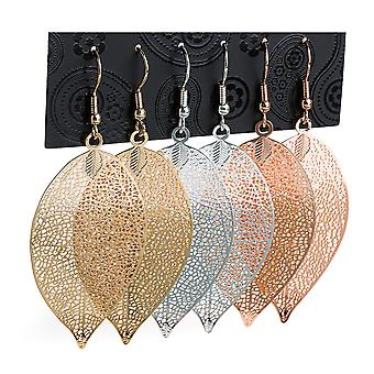 3 Pairs Leaf Design Drop Earrings Gold, Silver & Rose Gold Colour 4.5cm