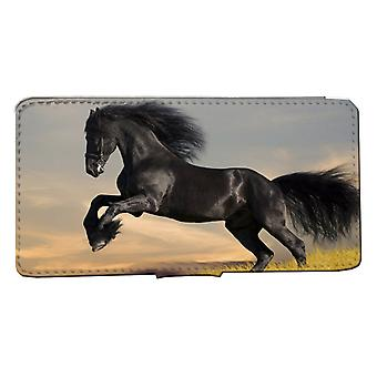 iPhone11 Wallet Case : Black horse shell case