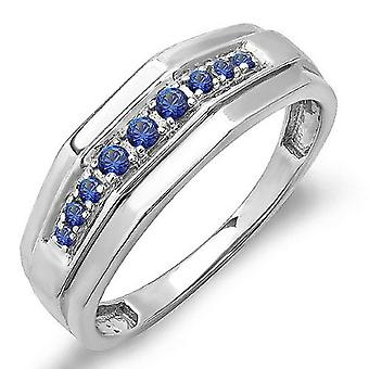 Dazzlingrock Collection 0.25 Carat (ctw) Sterling Silver Round Blue Sapphire Mens Wedding Anniversary Band 1/4 CT