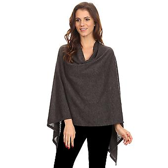 Sharon's Outlet Women's Solid Knit Short Wrap Poncho Topper