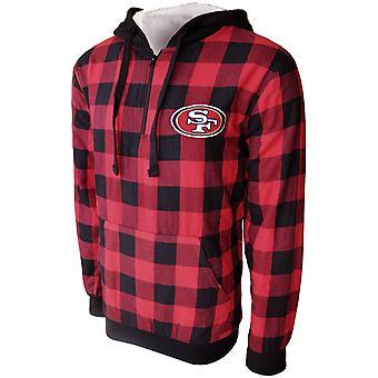 San Francisco 49ers Sherpa Flannel Half Zip Hoody