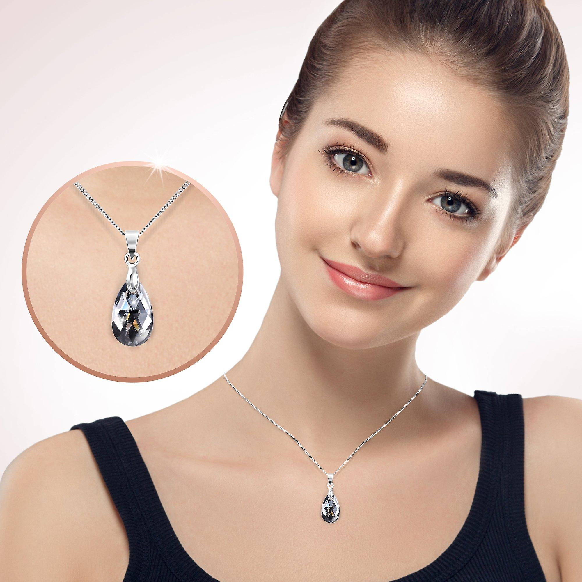 Rhodium plated necklaces with swarovski crystal. pendant necklace. by 2splendid. 2 for 1. gift box included. nnqz015