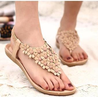 Floral gladiator sandals- batch tan