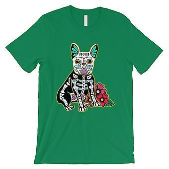 Frenchie dag av Dead Funny Halloween kostyme søt menns grønn T-skjorte