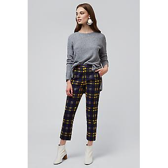 Louche Jaylo Checkmate Print Trouser Navy