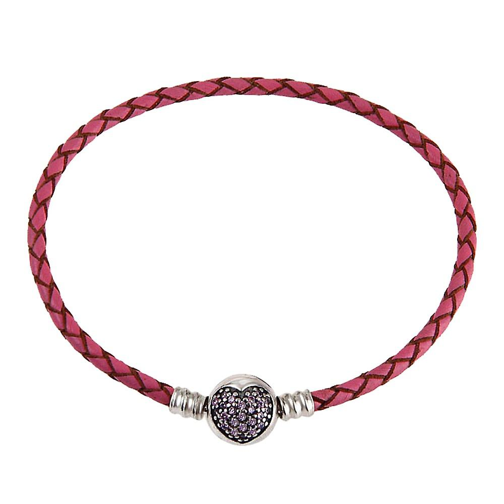 Woven leather charm bracelet with zirconia heart clip Size in cm 20