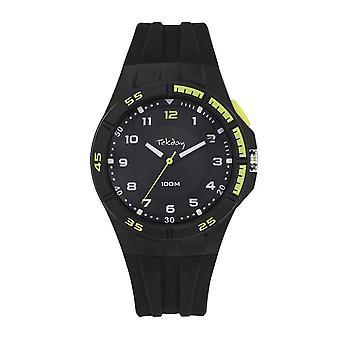 Tekday Watch 654681 - Analog Silicone Black Men's Green Tint