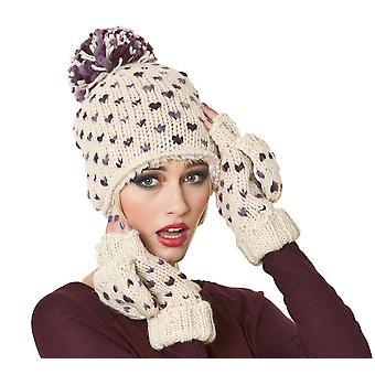 Ladies Hand Knitted Fashion Winter Set. Beanie + Headband & Gloves