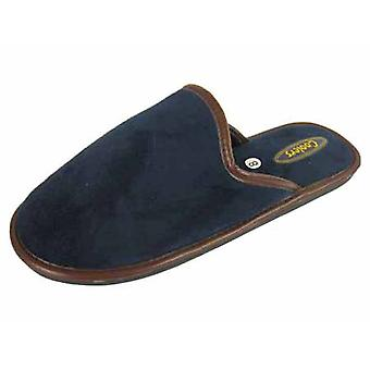 Coolers Mens Faux Leather Bound Edge Microsuede Mule Slipper