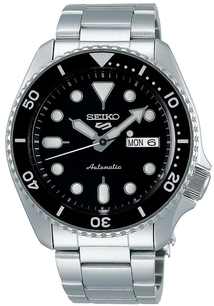 Seiko 5 Sports Black Dial Silver Stainless Steel Bracelet Automatic Men's Watch SRPD55K1
