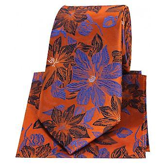Posh and Dandy Large Flowers Silk Tie and Hanky Set - Orange/Blue
