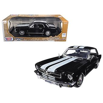 1964 1/2 Ford Mustang Hard Top Black with White Stripes 1/18 Diecast Car Model by Motormax