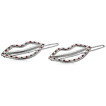 Steve Madden Women's Lip Design with Red Rhinestone, White, Size One Size