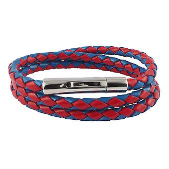Lederen ketting lederen koord 6 mm heren ketting rood / blauw 17-100 cm lang met hendel print gesp zilver gevlochten