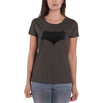 المرأة قصيرة الأكمام باتمان شعار بطل الطباعة تي قميص أعلى رمادي مسؤول