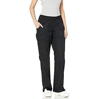 Cherokee Women's Mid Rise Straight Leg Pull-on Cargo Pant,, Black, Size X-Large