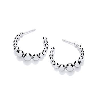 David Deyong Sterling Silver Crescent Bubbly Hoop Earrings