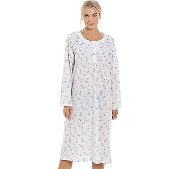 Camille Womens Classic Blue Rose Print Long Sleeve Nightdress