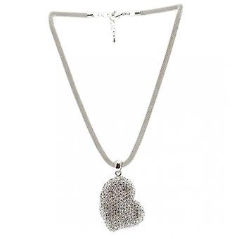Nour London Sidedrop Crystal Detail Heart Necklace