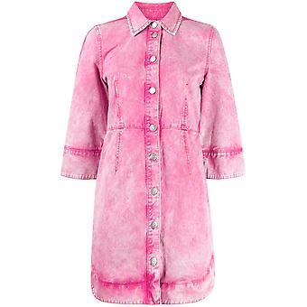 Ganni F4402462 Women's Fuchsia Cotton Dress