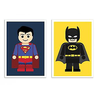 2 Art-Posters - Duo Superman and Batman Toys - Rafa Gomes a