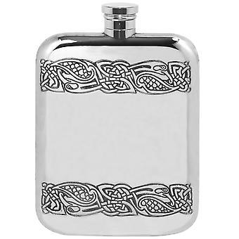 Celtic Gwenhwyfar Stamped Pewter Purse Flask - 6oz