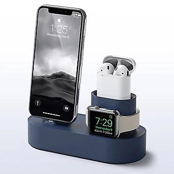 3-in-1 fast charger silicone dock stand phone holder for apple watch 1/2 airpods iphone x   (black)