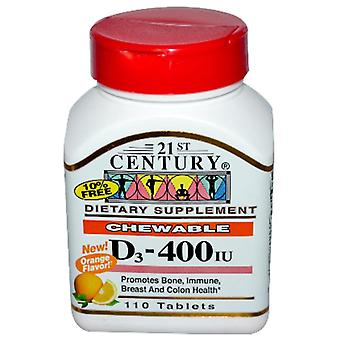 21st century vitamin d3, 400 iu, chewable tablets, orange flavor, 110 ea