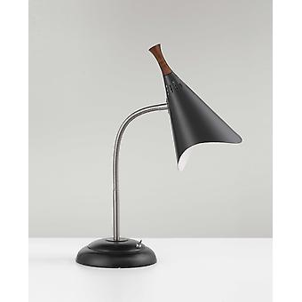 "13.5"" X 5-17"" X 18.5"" Black Metal Gooseneck Desk Lamp"