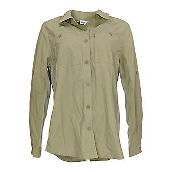 Magellan Women's Top Long Sleeve Button Down Green