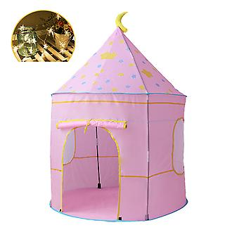 Children with mat tent, foldable indoor and outdoor games room with LED star lights, yurt style tent can be used by both men and women